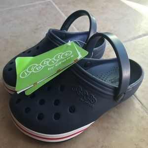 "jibbitz Shoes - jibbitz by crocs crocs  clog in navy kids 12"" size"